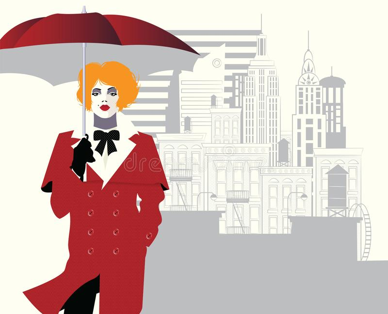 Fashion woman in style pop art. Vector illustration. Fashion woman in style pop art witn umbrella in New York vector illustration