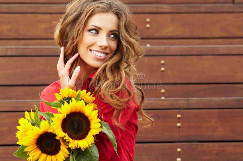Download Fashion Woman With Sunflower Stock Image - Image: 28763791