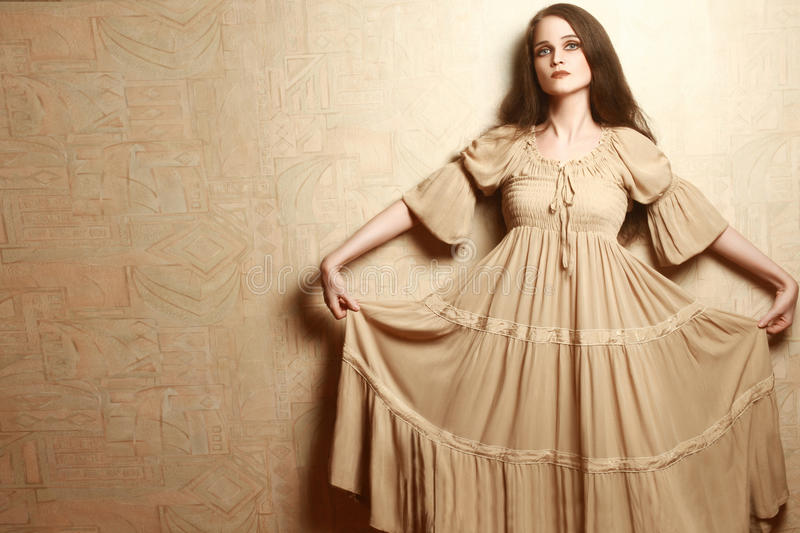 Fashion Woman In Vintage Dress Retro Clothes Style Stock