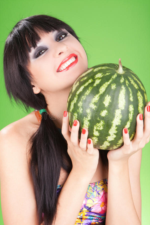 Fashion woman with watermelon royalty free stock photos