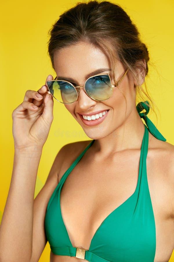 Fashion Woman Wearing Stylish Sunglasses. stock photo