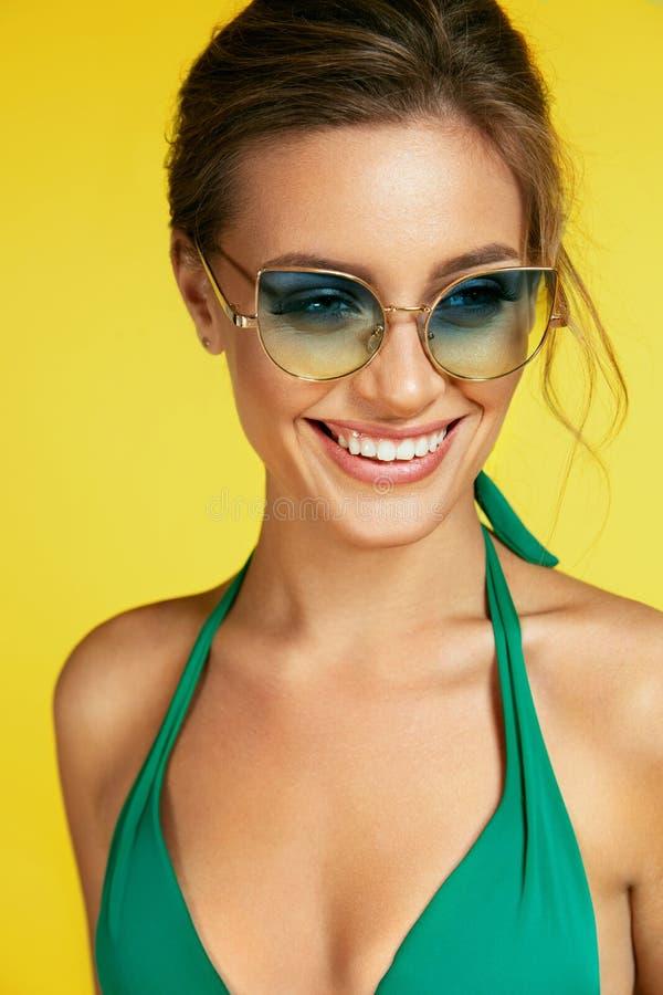 Fashion Woman Wearing Stylish Sunglasses. royalty free stock photos