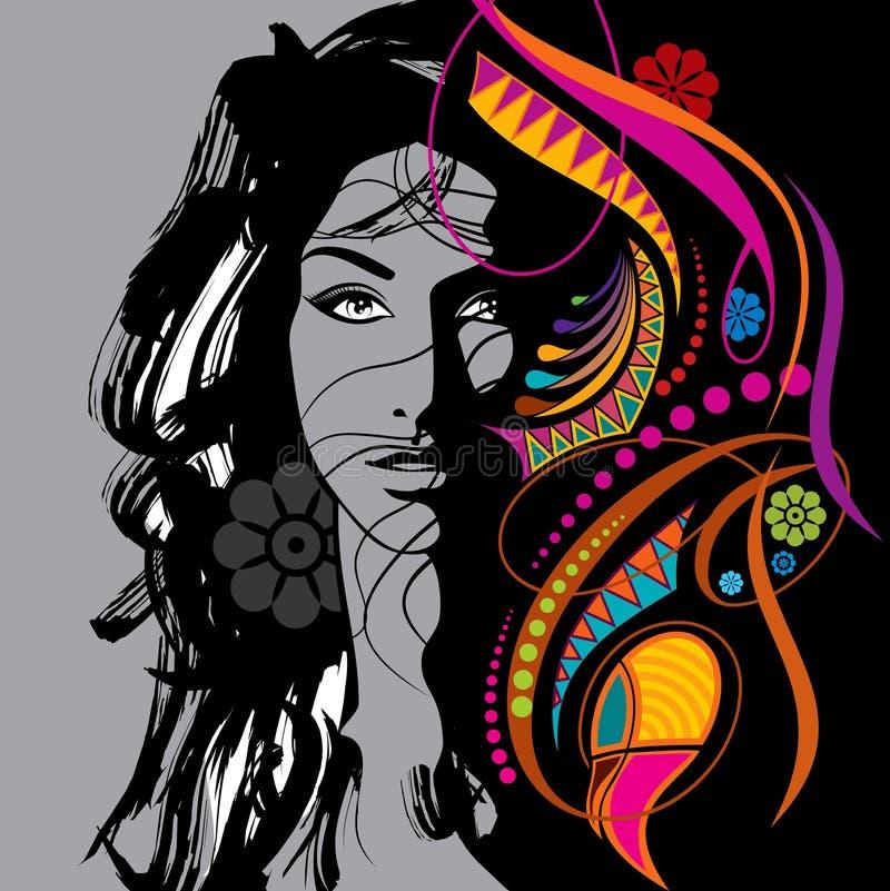Fashion women illustration in glamourus style royalty free illustration