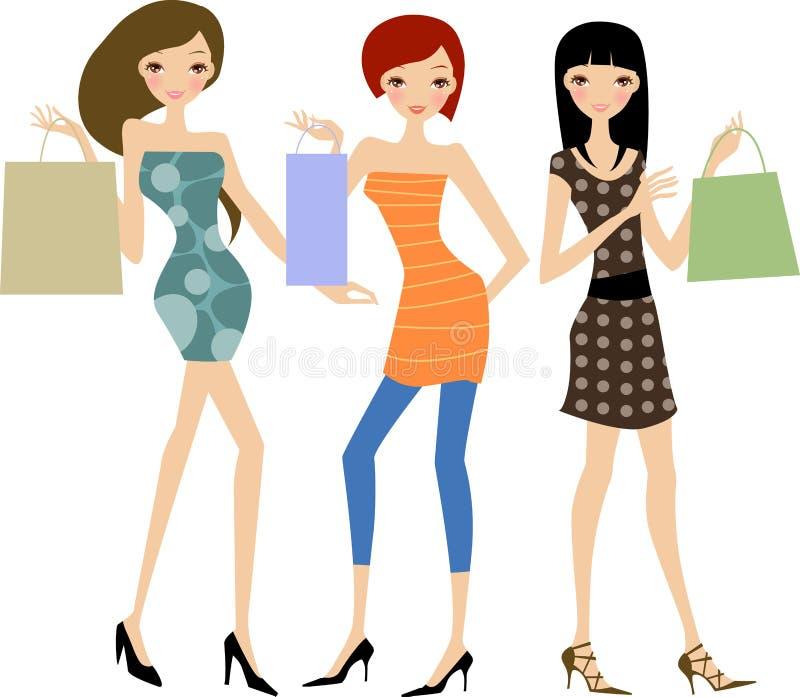 Fashion women at the shopping stock illustration