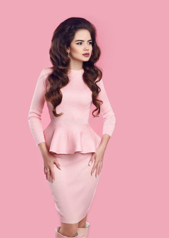 Fashion women style. Beautiful Elegant lady in pink dress p stock photo