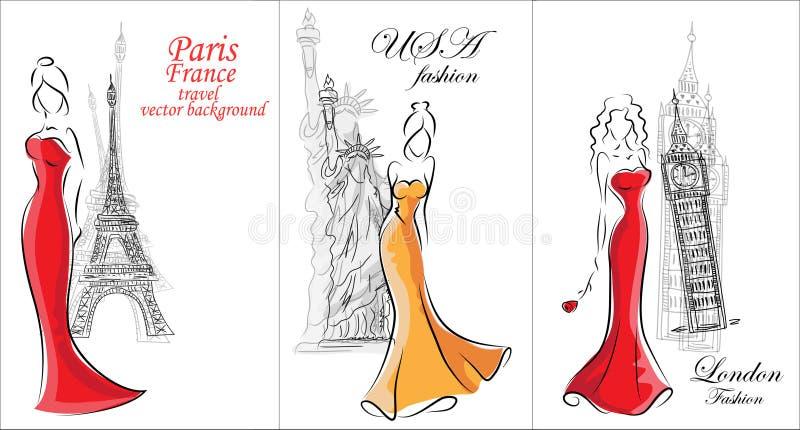 Fashion women, travel background vector royalty free illustration