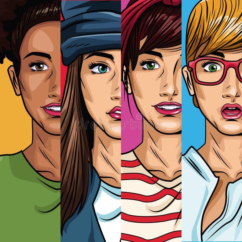 Fashion womens pop art cartoon. Vector illustration graphic design stock illustration