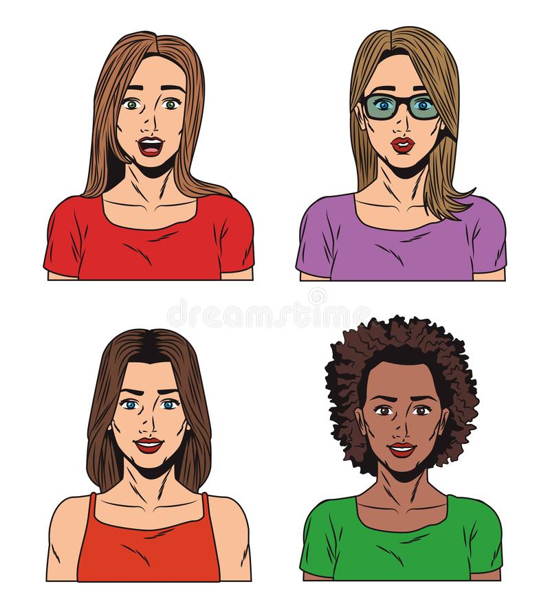 Fashion womens pop art cartoon. Vector illustration graphic design stock illustration