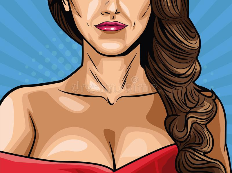 Fashion womens pop art cartoon. Vector illustration graphic design royalty free illustration