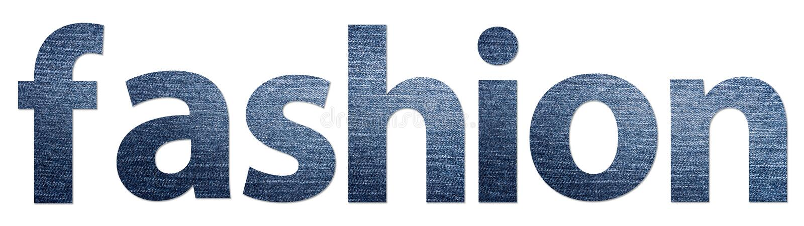 Fashion Word Abstract. Fashion Word Made Of Jeans Texture Alphabet Letters royalty free stock photos