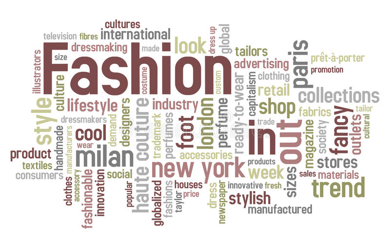 Fashion Word Cloud. Concept illustration, isolated on white background. Eps file available