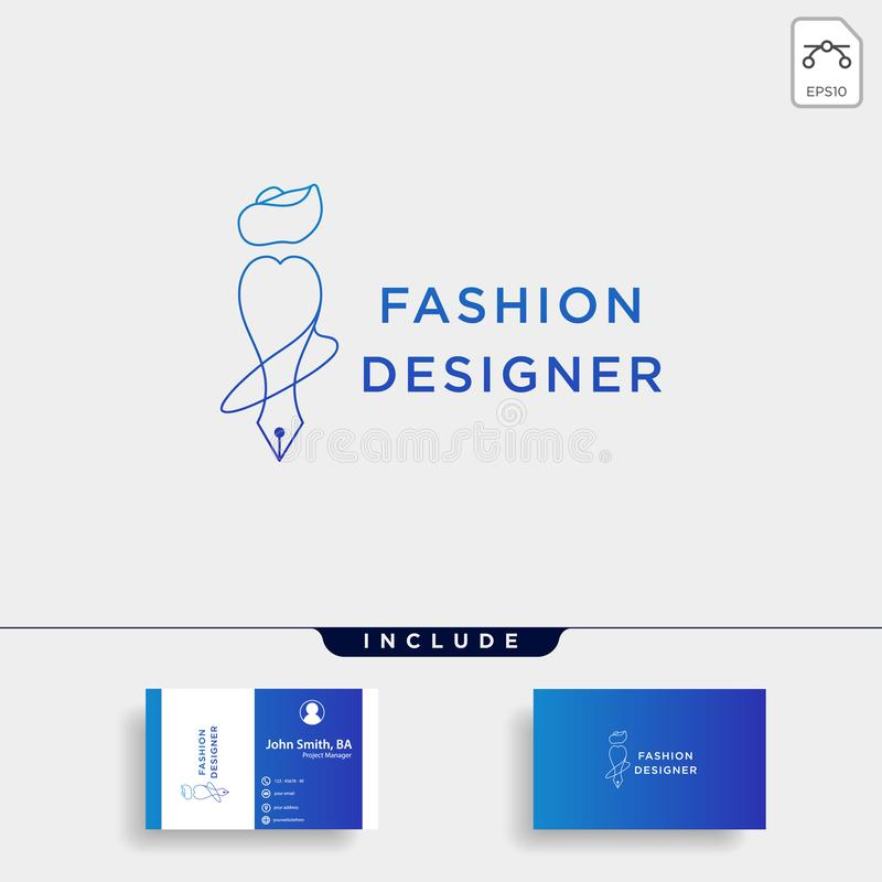 fashion writer or designer in simple line logo template vector illustration icon element stock illustration