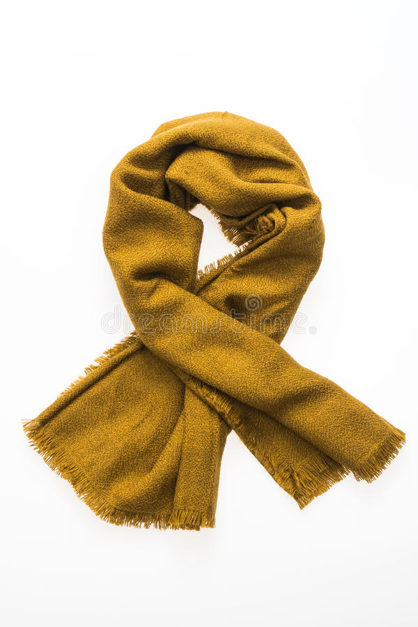 Fashion yellow scarf for winter season. Isolated on white background royalty free stock image