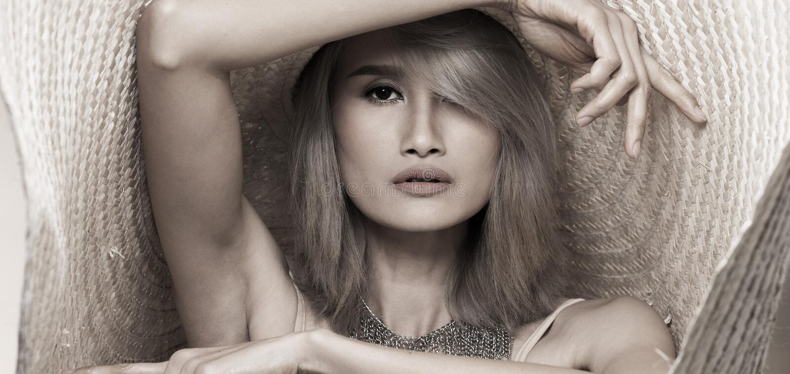 Fashion Young Asian Woman Silver Gray hair big hat stock images