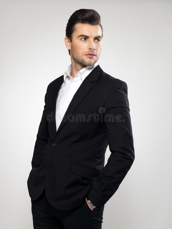 Fashion Young Businessman In Black Suit Royalty Free Stock