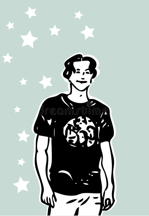 Download Fashion Young Man In T-shirt Stock Illustration - Image: 13325765