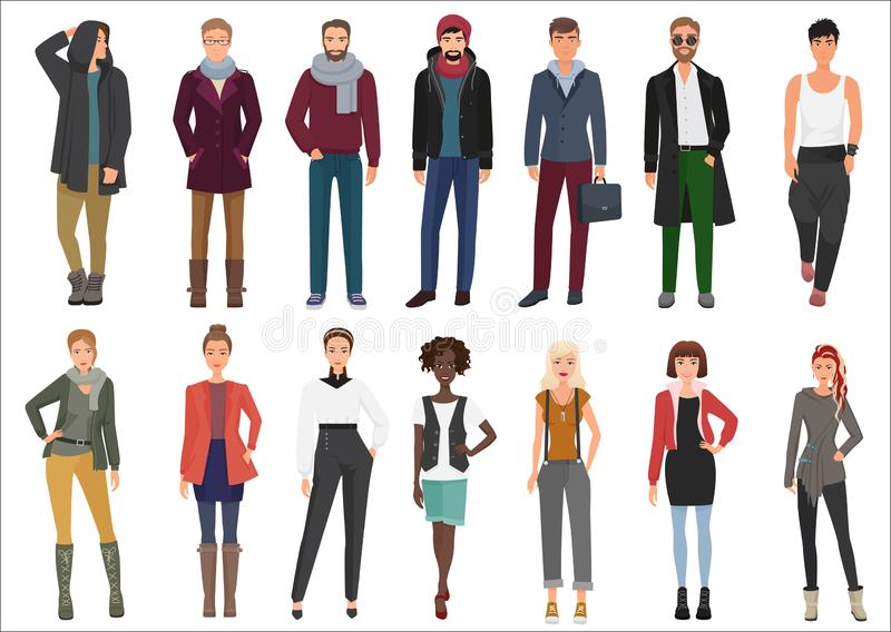 Fashion young people in stylish casual clothes collection. vector illustration