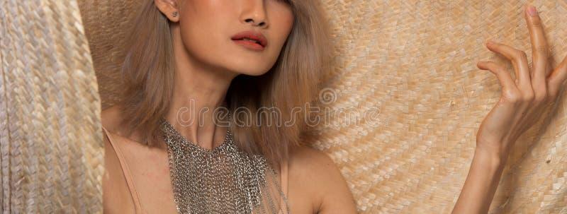 Fashion Young Asian Woman Silver Gray hair big hat stock image
