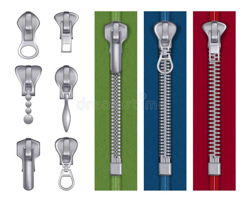 Fashion zipper. Steel fabric tailor items decorative seamstress handbag locks buckles vector realistic illustrations vector illustration