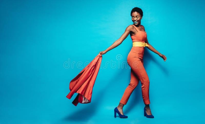 Fashionable african woman in stylish outfit stock image