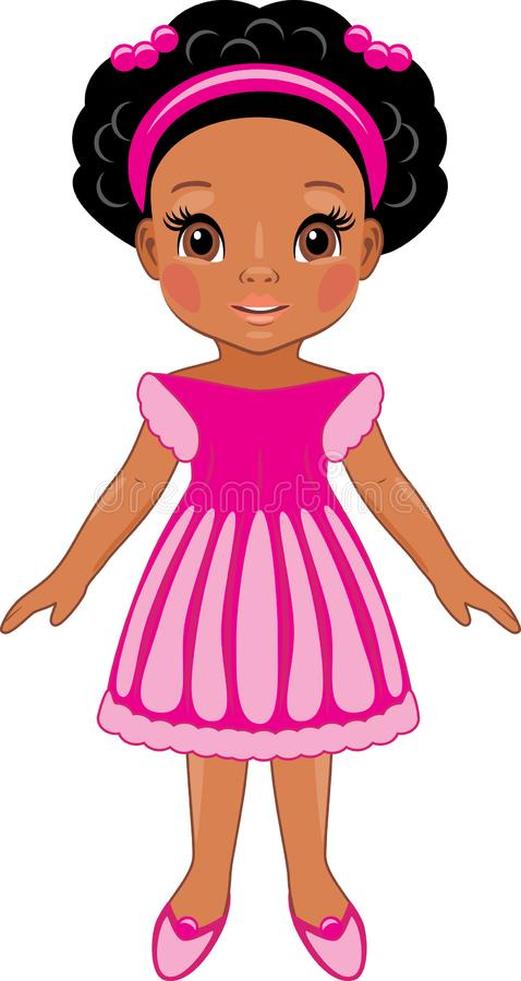 Fashionable afro little girl in pink dress. Cartoon drawing vector illustration