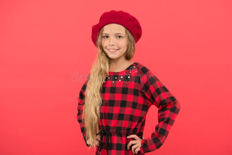 Fashionable beret accessory for female. Beret style inspiration. Wear beret like fashion girl. Kid little cute girl with stock photo