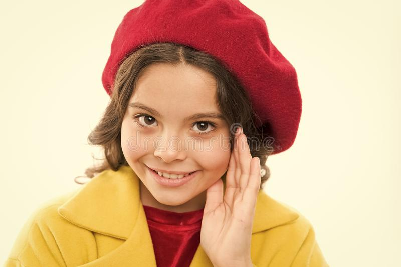 Fashionable beret accessory for female. Spring fashion. Dreamy mood. Fashion accessory for little kids. Dress up like royalty free stock image