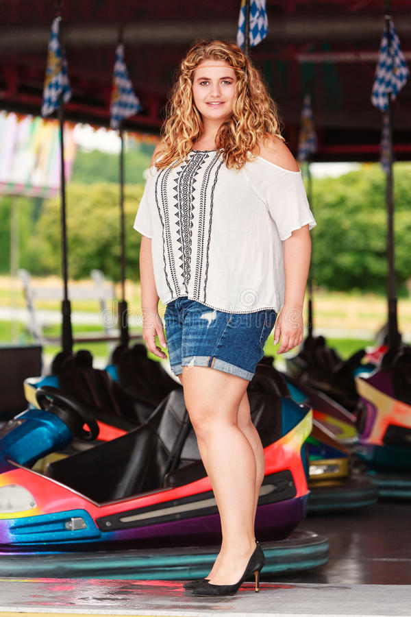 Fashionable blond curly Plus Size Girls royalty free stock photography