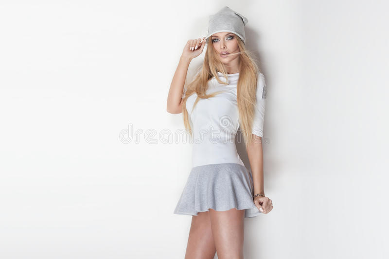 Fashionable blonde woman posing. royalty free stock photos