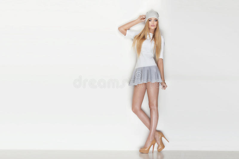 Fashionable blonde woman posing. stock images
