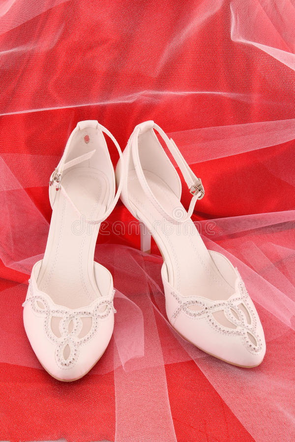 Fashionable Bridal Wedding Shoes Royalty Free Stock Images