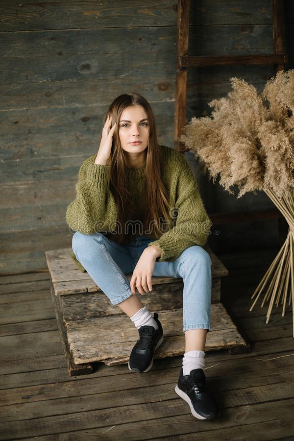 Fashionable brown haired dreamy model girl sitting on wooden background floor. rustic studio in dark green knitted. Sweater and blue jeans. Fashion pose, arm royalty free stock photo