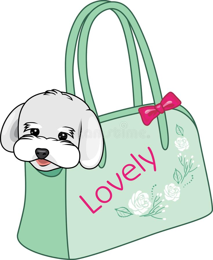 Fashionable carrying bag for small dogs royalty free stock images
