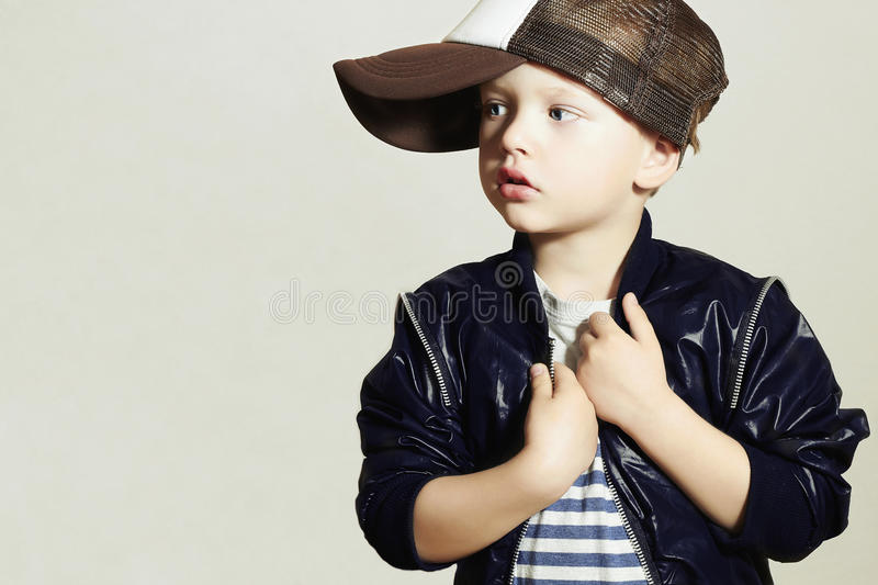 Fashionable Child.stylish little.fashion children.Hip-Hop style.Isolate stock image