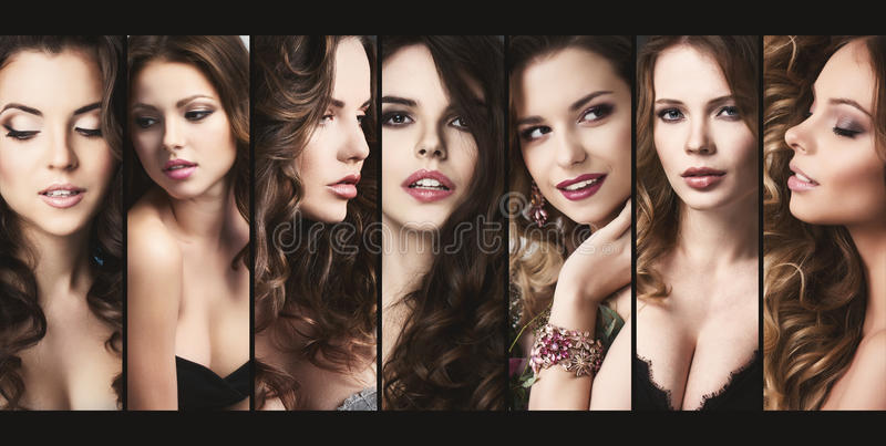 Fashionable collection of different female portraits. stock images