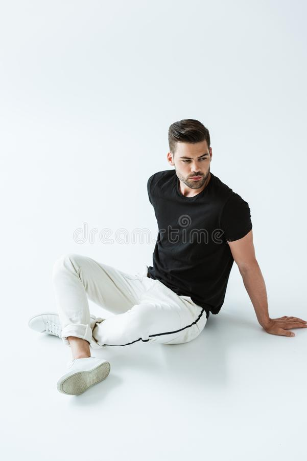 Fashionable confident man wearing casual clothes royalty free stock photography