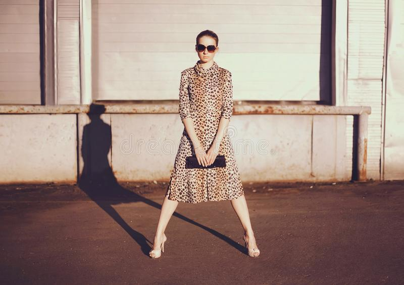 Fashionable confident woman in dress with leopard print, female model holding handbag clutch posing evening casts a shadow on city stock images