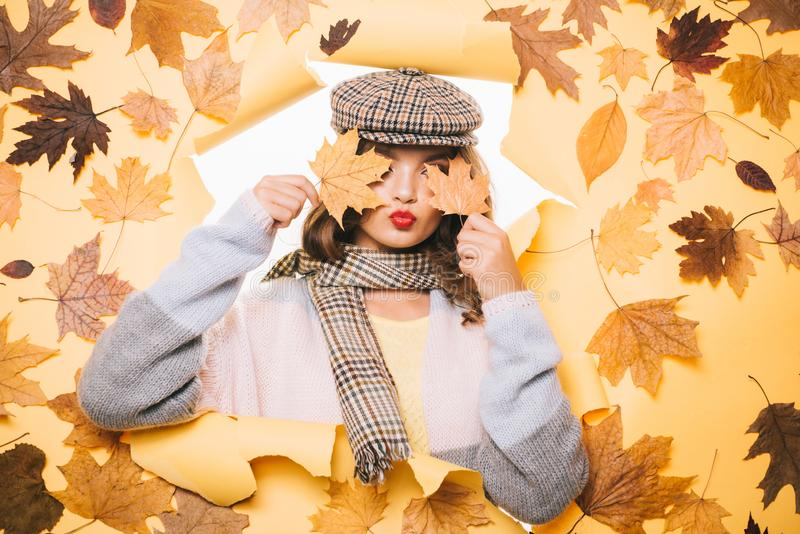Fashionable cutie. Pretty woman wear autumn fashion accessories. Casual fashion trends for fall. Fashion girl look stock photography