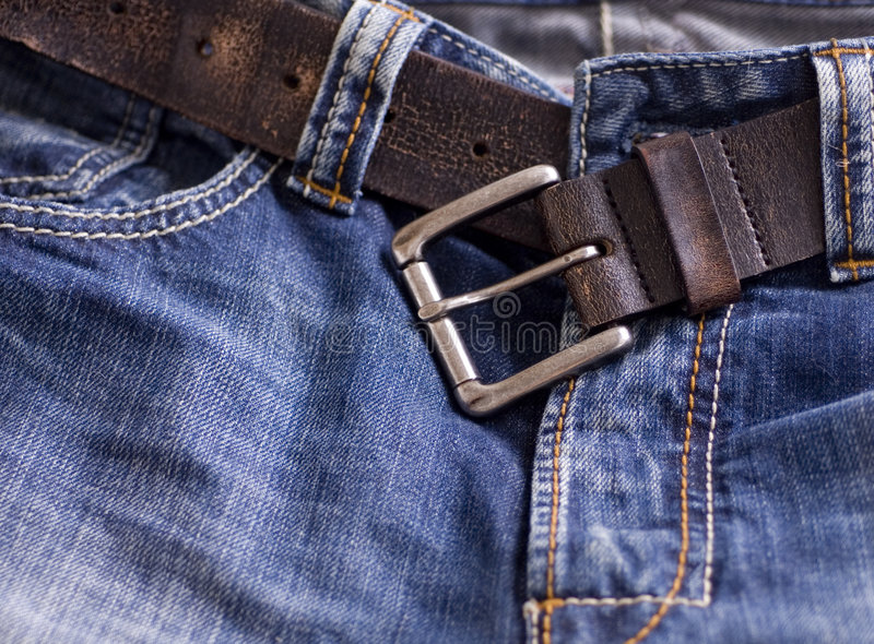 Fashionable denim jeans belt stock images