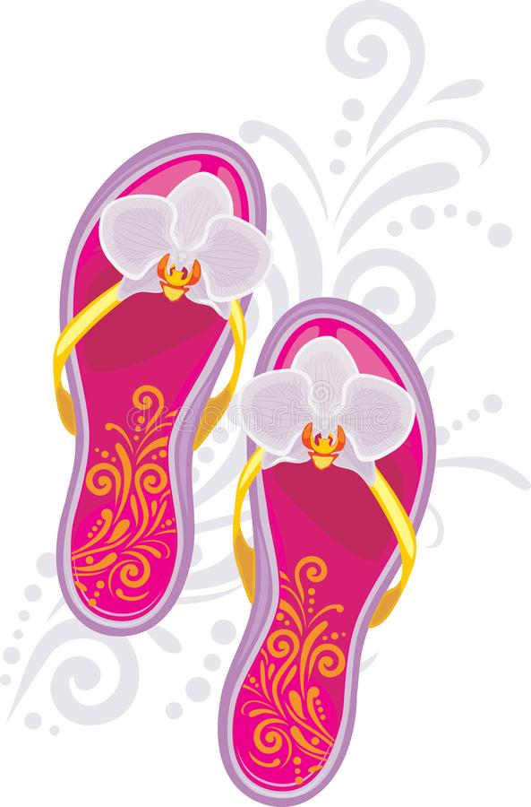 Fashionable female beach slippers. Symbol for fashion style royalty free stock photography