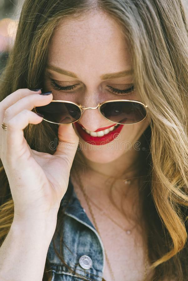 Fashionable Female Blogger in a Happy State stock image