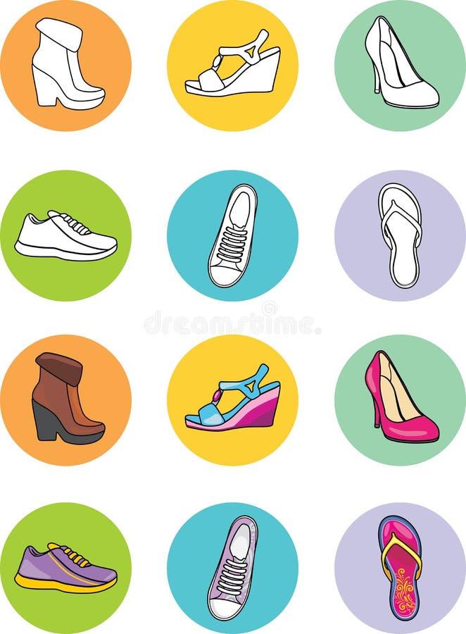 Fashionable female shoes. Icon set stock photo