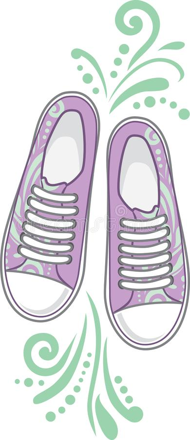 Fashionable female sneakers. Symbol for fashion style stock photos