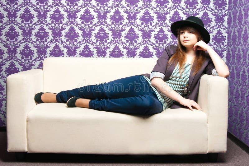 The fashionable girl stock photo