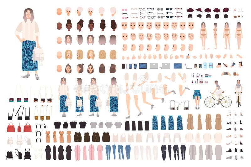 Fashionable girl animation kit or DIY set. Bundle of body parts, clothes and accessories. Trendy street style outfit. Female cartoon character. Front, side stock illustration