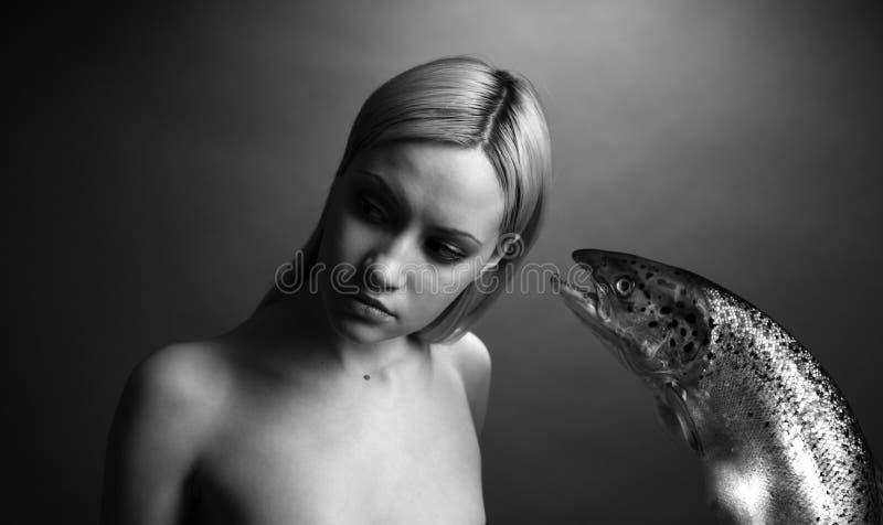 Download Fashionable Girl With Big Fish Stock Photography - Image: 4576002