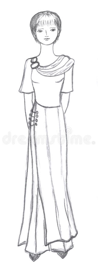 Fashionable Girl Drawing Stock Image