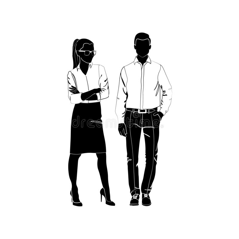 Fashionable girl and guy vector. Fashion. Man and woman silhouette vector. Fashionable young couple. Girl in a business suit vector illustration