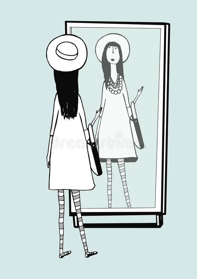 Fashionable girl looks in mirror. Woman with stylish, retro accessories hat, striped tights, handbag. Hand drawn vector royalty free illustration