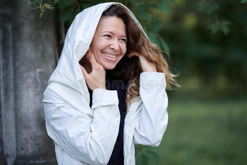 Fashionable girl posing outdoor royalty free stock image